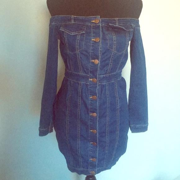 a0d8bbecd9e0 Fashion Nova Dresses   Skirts - Off The Shoulder Denim Dress
